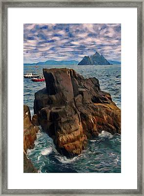 Framed Print featuring the painting Sea And Stone by Jeff Kolker