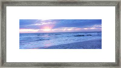 Sea At Dusk, Gulf Of Mexico, Naples Framed Print