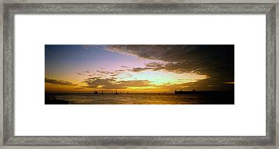 Sea At Sunset, Key West, Monroe County Framed Print by Panoramic Images