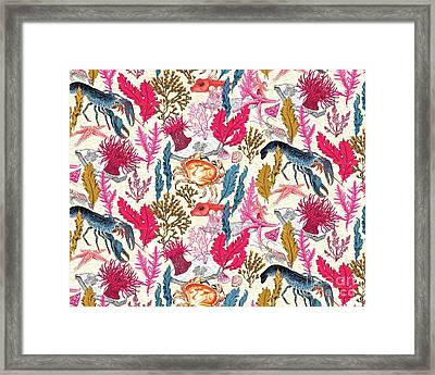 Sea Bed Repeat Pattern Framed Print by Jacqueline Colley