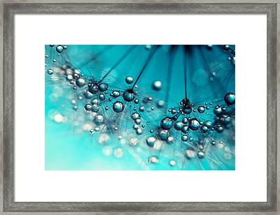Framed Print featuring the photograph Sea Blue Shower by Sharon Johnstone