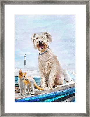 Framed Print featuring the digital art Sea Dog And Cat by Jane Schnetlage