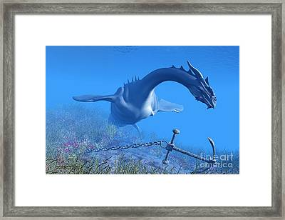 Sea Dragon And Anchor Framed Print by Corey Ford