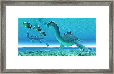 Sea Dragon Fight Framed Print by Corey Ford