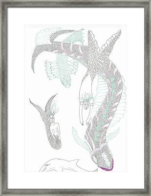 Sea Dragons And Mermaids Framed Print
