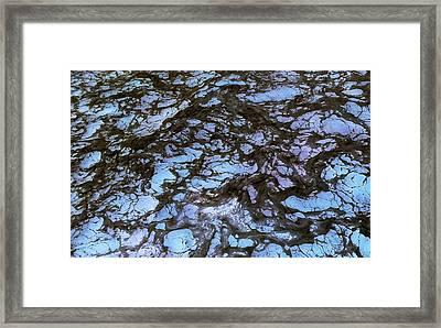 Sea Foam Black And Blue Framed Print