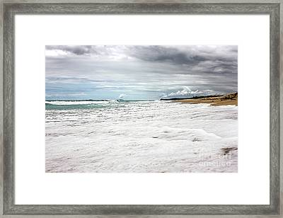 Framed Print featuring the photograph Sea Foam And Clouds By Kaye Menner by Kaye Menner