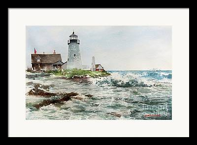 Pemaquid Lighthouse Paintings Framed Prints