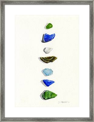 Sea Glass Watercolor Framed Print by Sheryl Heatherly Hawkins