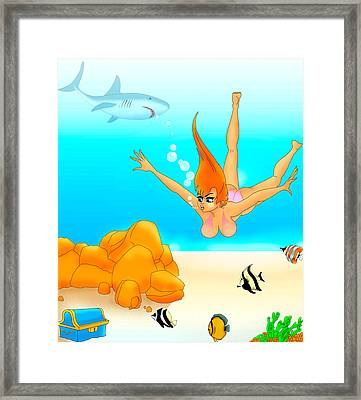 Framed Print featuring the painting Sea Hunt by Lynn Rider