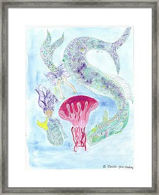 Sea Joys, Red Jelly Fish And Dragon Framed Print