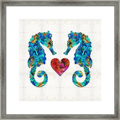 Sea Lovers - Seahorse Beach Art By Sharon Cummings Framed Print by Sharon Cummings