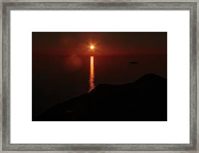 Sea, Mountains, Sunset, Sun Sinking Over The Horizon Framed Print