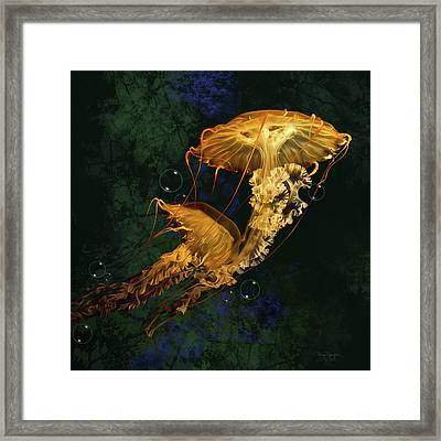 Framed Print featuring the digital art Sea Nettle Jellies by Thanh Thuy Nguyen