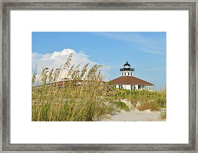 Sea Oats And Lighthouse Framed Print by Steven Scott