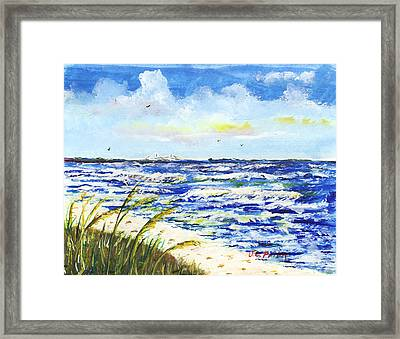Sea Oats And Skyway Framed Print by JC Prida