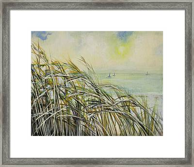 Sea Oats Sailboats Framed Print by Michele Hollister - for Nancy Asbell