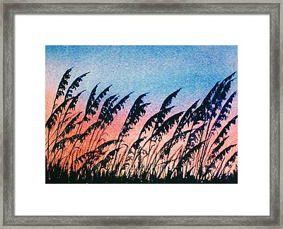 Sea Oats Silouette Framed Print by Suzanne Krueger