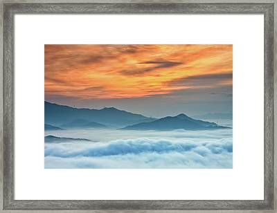 Sea Of Clouds By Sunrise Framed Print by SJ. Kim