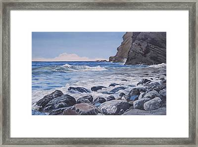 Framed Print featuring the painting Sea Pounded Stones At Crackington Haven by Lawrence Dyer