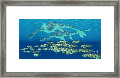 Sea Serpent Chase Framed Print by Corey Ford