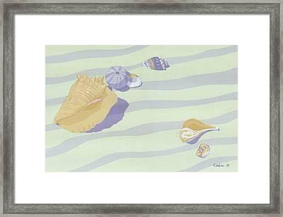 Sea Shells - Seashells - Abstract - Retro - Pop Art - Beach Decor - Beach Art - 1980s Painting Framed Print by Walt Curlee