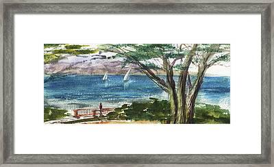 Sea Shore Elongated Painting Framed Print by Irina Sztukowski