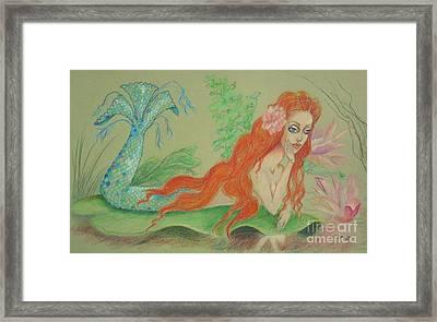 Sea Siren, Resting -- Whimsical Mermaid Drawing Framed Print