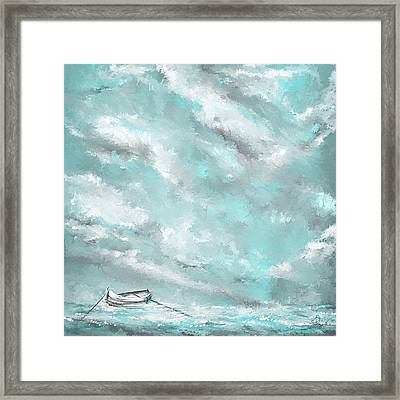 Sea Spirit - Lighter Version - Teal And Gray Art  Framed Print by Lourry Legarde