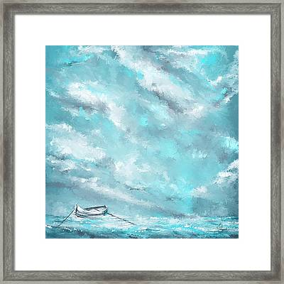Sea Spirit - Teal And Gray Art Framed Print by Lourry Legarde
