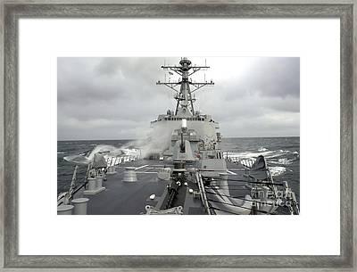 Sea Spray Whips Across The Deck Framed Print
