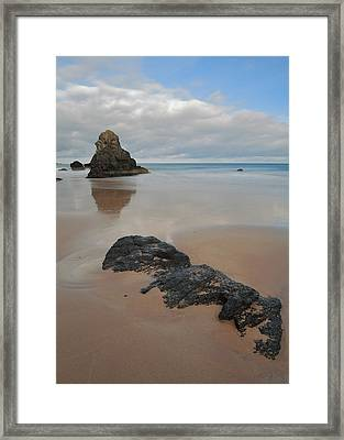 Sea Stack And Jurassic Looking Rock On Sango Bay Framed Print by Maria Gaellman