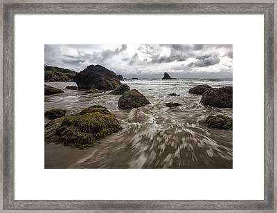Sea Stack In Oregon Framed Print by Jon Glaser