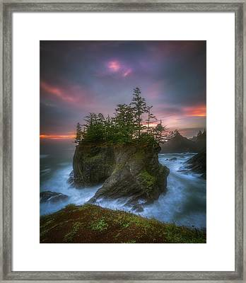 Sea Stack With Trees Of Oregon Coast Framed Print