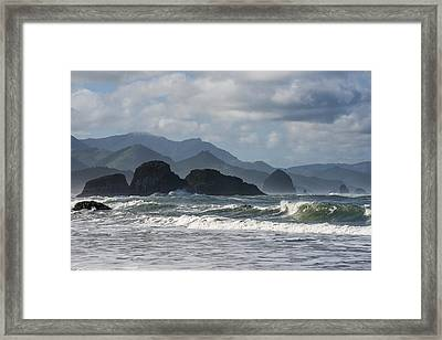 Sea Stacks And Surf Framed Print
