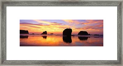 Sea Stacks Rock Formations, Sunset Framed Print by Panoramic Images