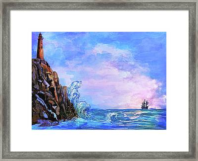 Framed Print featuring the painting Sea Stories 2  by Andrzej Szczerski
