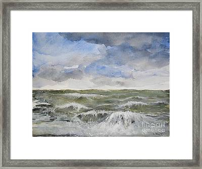 Framed Print featuring the painting Sea Storm by Sibby S