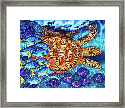 Sea Turtle And Fish Framed Print by Daniel Jean-Baptiste