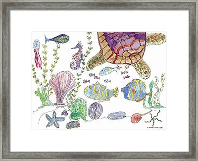 Sea Turtle And Fishies Framed Print