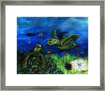 Sea Turtle Rendezvous Framed Print by Tanna Lee M Wells
