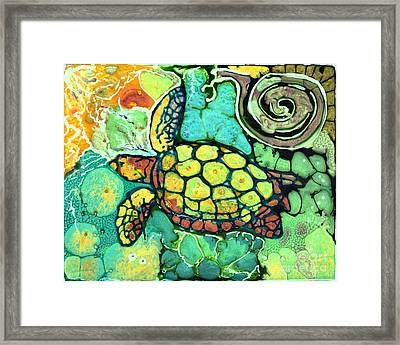 Sea Turtle Swiming Framed Print by Shelly Tschupp