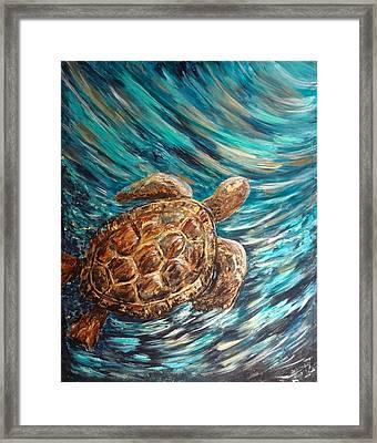 Sea Turtle Wave Guam Framed Print