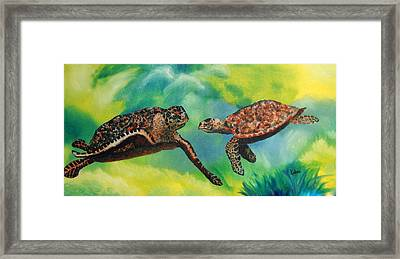 Sea Turtles And Dolphins Framed Print by Susan Kubes