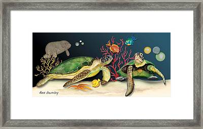 Framed Print featuring the painting Sea Turtles by Anne Beverley-Stamps