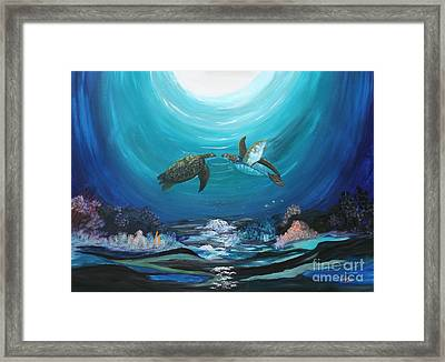 Framed Print featuring the painting Sea Turtles Greeting by Myrna Walsh