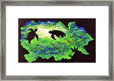 Sea Turtles Framed Print by Iron Patriot Woodburning