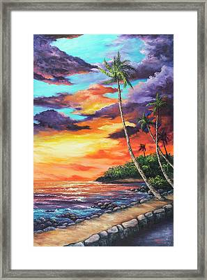 Framed Print featuring the painting Sea Wall Lahaina by Darice Machel McGuire