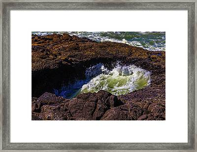 Sea Water In Thor's Well Framed Print