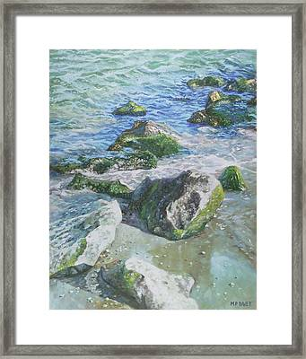 Framed Print featuring the painting Sea Water With Rocks On Shore by Martin Davey